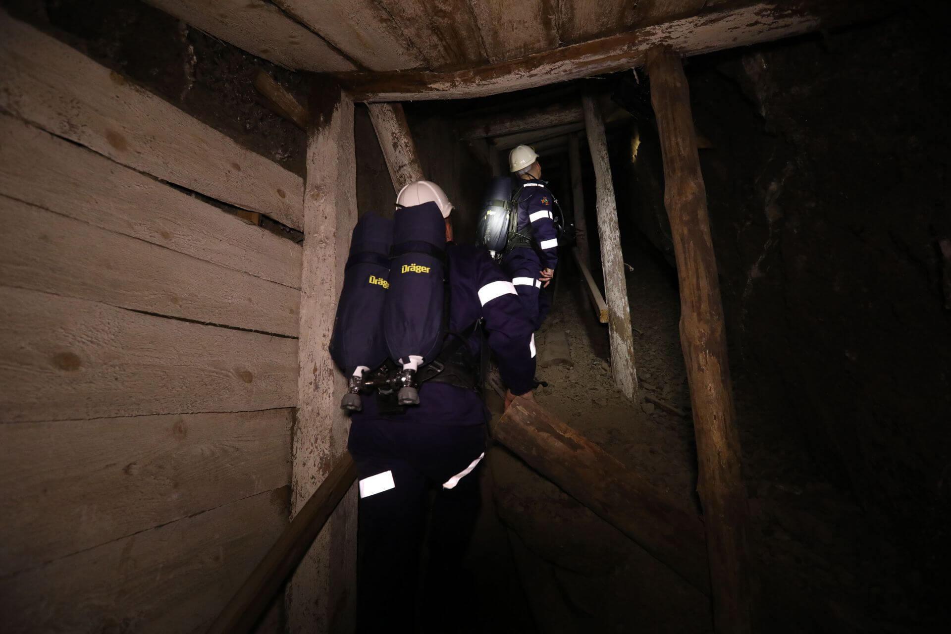 ćwiczenia ratownicze w kopalni