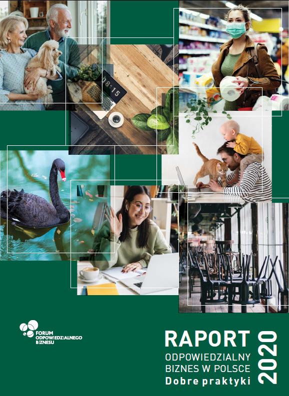 """Okładka """"Raportu odpowiedzialny biznes w Polsce. Dobre praktyki 2020"""". Na ciemnozielonym tle znajduje się tytuł napisany białymi czcionkami oraz siedem zdjęć ilustrujących dobre praktyki, np. praca zdalna czy ochrona środowiska naturalnego"""