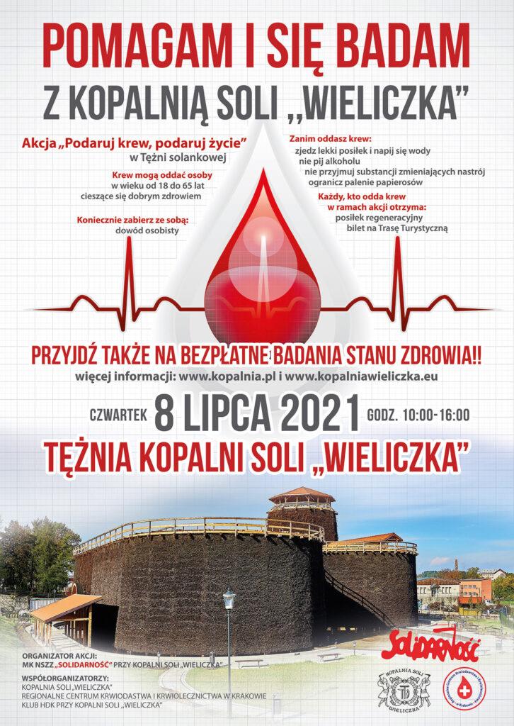 Plakat z informacjami o zbiórce krwi: 8 lipca, tężnia solankowa, w godzinach 10.00-16.00, możliwość bezpłatnych badań